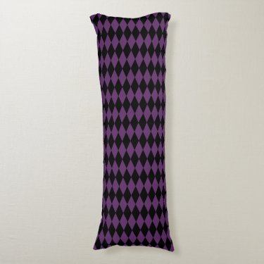 Black Purple Harlequin Pattern, Plain Black Back Body Pillow