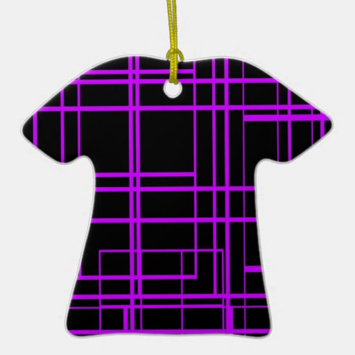 Black & Purple Laser Design Double-Sided T-Shirt Ceramic Christmas Ornament