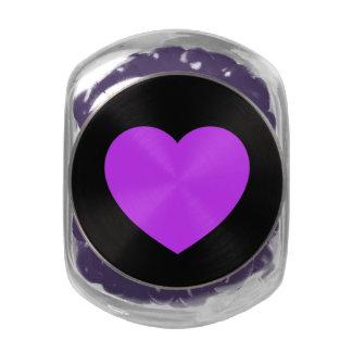 Black/Purple Love Heart Glass Jar