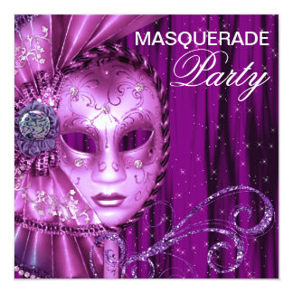 Black Purple Masquerade Party 5.25x5.25 Square Paper Invitation Card