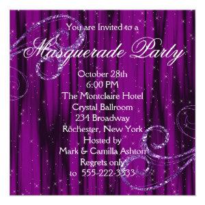 Black Purple Masquerade Party Invitations