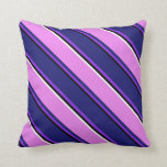 [ Thumbnail: Black, Purple, Midnight Blue, Violet, and White Throw Pillow ]