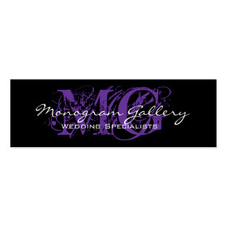 Black Purple Monogram Customizable Business Card Templates