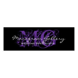 Black Purple Monogram Customizable Mini Business Card