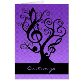 Black & Purple Music Treble Clef Tree Card