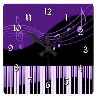 Black & Purple Musical Melody Square Wall Clock