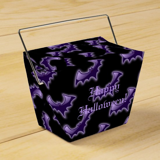 Black & Purple Night Wing Bats Take-Out Favor Box