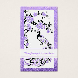 Black, purple peacock and cherry blossoms business card