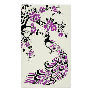 Black purple peacock and cherry blossoms poster