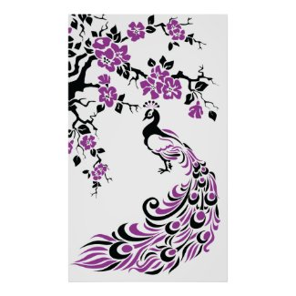 Black, purple peacock and cherry blossoms poster