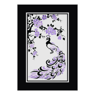 Black purple peacock and cherry blossoms print