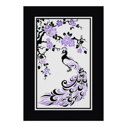Black, purple peacock and cherry blossoms print