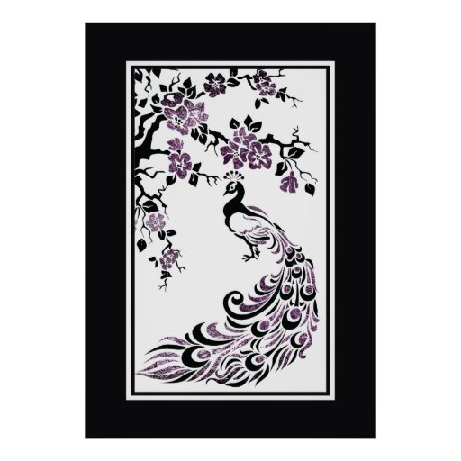 Black, purple peacock and cherry blossoms posters