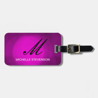 Black Purple Pink Monogram Customize Luggage Tag