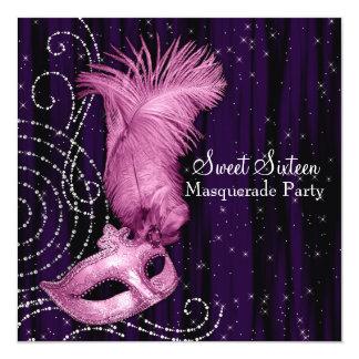 Black Purple Pink Sweet 16 Masquerade Party Invitation