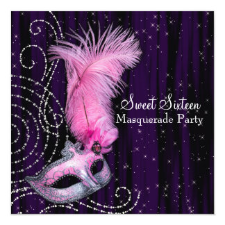 Black Purple Pink Sweet 16 Masquerade Party Invitations