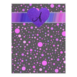 """Black purple polka dots purple heart 8.5"""" x 11"""" flyer"""