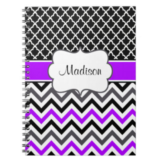 Black Purple Quatrefoil Chevron Personalized Spiral Notebooks