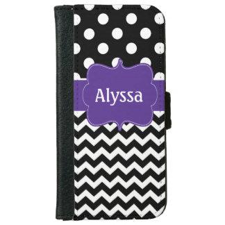 Black Purple Quatreofoil Personalized Wallet Case