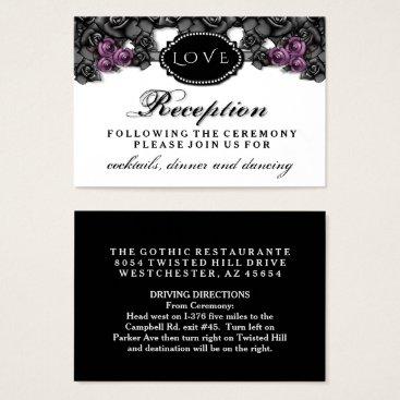 Halloween Themed Black Purple Rose LOVE Halloween Wedding Reception Business Card