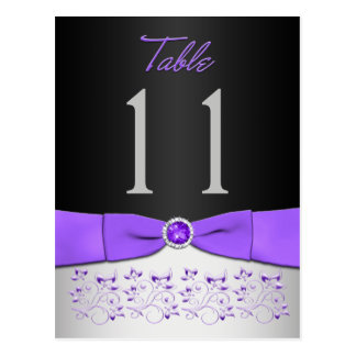 Black, Purple, Silver Floral Table Number Postcard