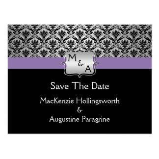 Black Purple Silver Monogram Damask Save The Date Postcard