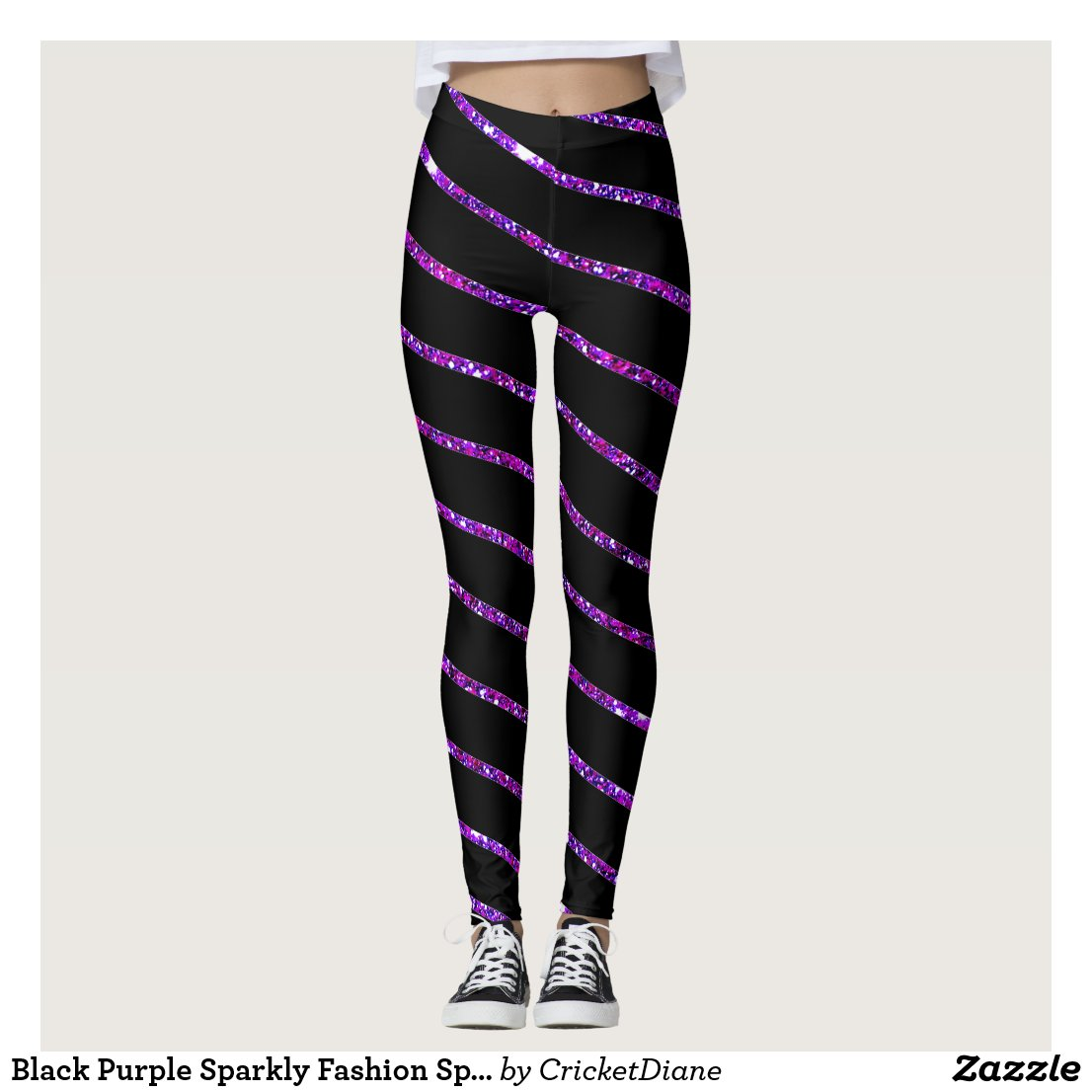 Black Purple Sparkly Fashion Sports Pants