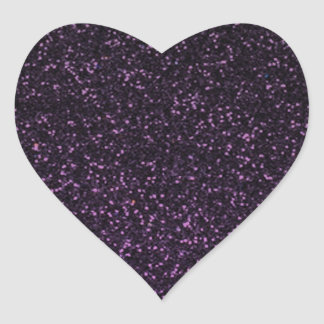 Black purple sparkly glitter heart sticker