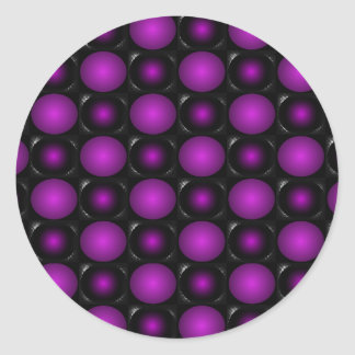 Black & Purple Spheres 3D Textured Design Classic Round Sticker