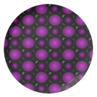 Black Purple Spheres 3D Textured Design Plate