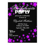 Black & Purple Stars Bachelorette Party Invitation
