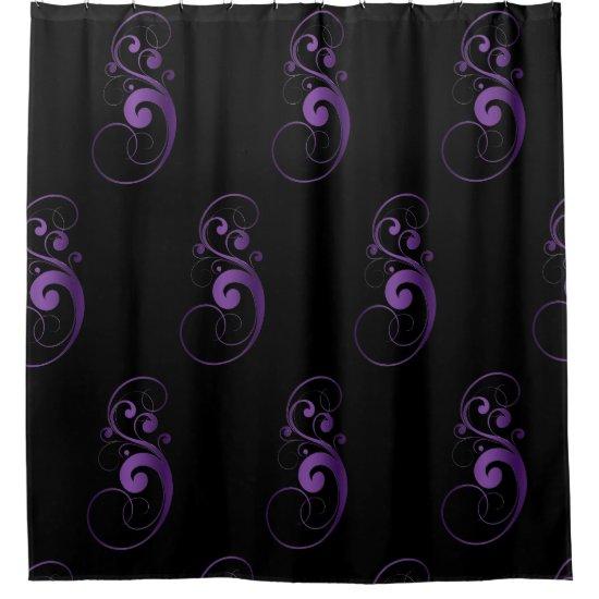 Black & Purple Swirl Shower Curtain