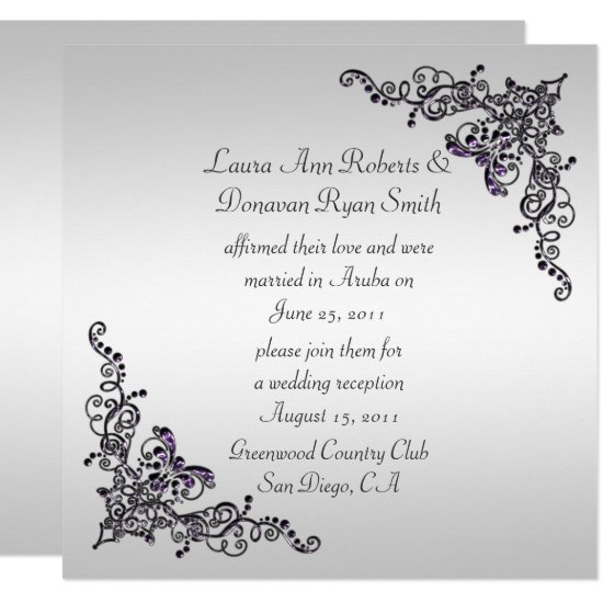 Black Purple Swirls on Silver Background Post Wedd Invitation