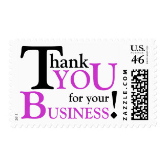 Black Purple Thank you for your Business Postage Stamps