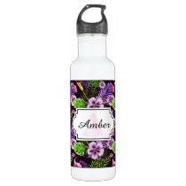 Black purple tropical flora watercolor pattern stainless steel water bottle