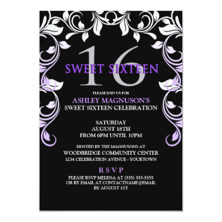 Black/Purple Vines Sweet 16 Invitation