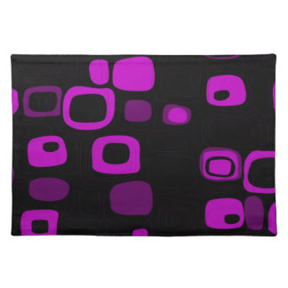 Black, Purple, Violet Retro Abstract Art Cloth Placemat