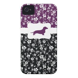Black&Purple w/Dachshund floral Case-Mate iPhone 4 Coberturas