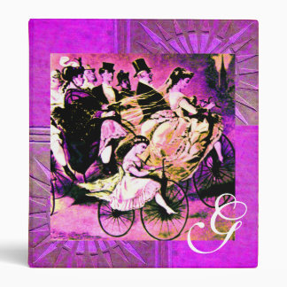 BLACK PURPLE WHITE BICYCLE WEDDING  MONOGRAM BINDER