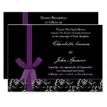 Black Purple White  Damask FAUX ribbon design Card