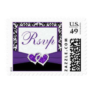 Black Purple White Damask Hearts RSVP Postage