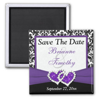 Black, Purple, White Damask Save The Date Magnet