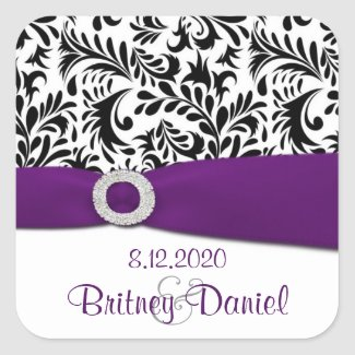 Black Purple & White Damask Wedding Envelope Seals sticker