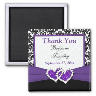 Black, Purple, White Damask Wedding Favor Magnet