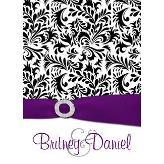 Black Purple & White Damask Wedding Invitations invitation