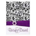 Black Purple & White Damask Wedding Invitations