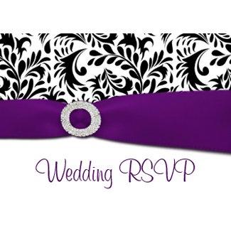 Black, Purple & White Damask Wedding RSVP Cards invitation