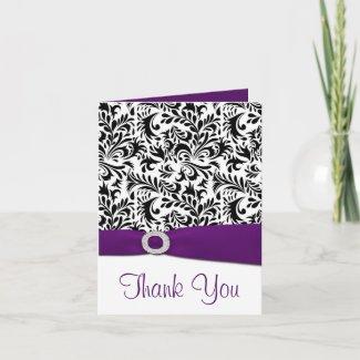 Black Purple White Damask Wedding Thank You Cards card