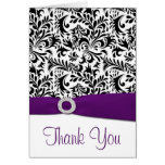 Black Purple White Damask Wedding Thank You Cards