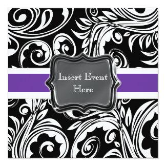 Black purple white engagement wedding card